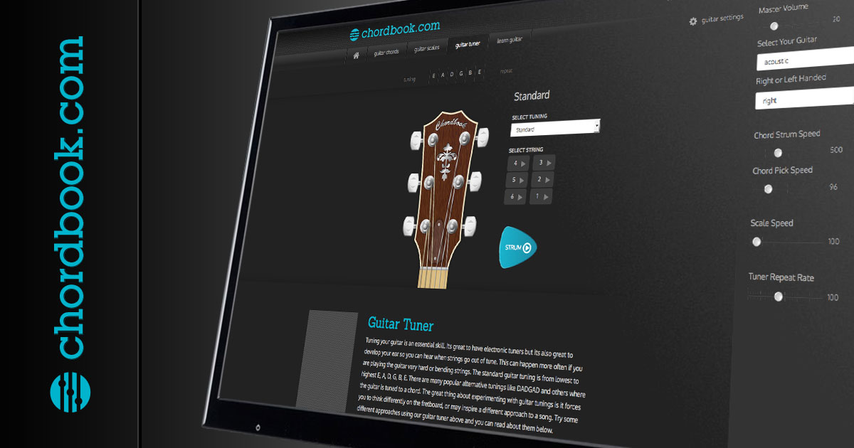 Guitar Tuning With The Chordbook Guitar Tuner