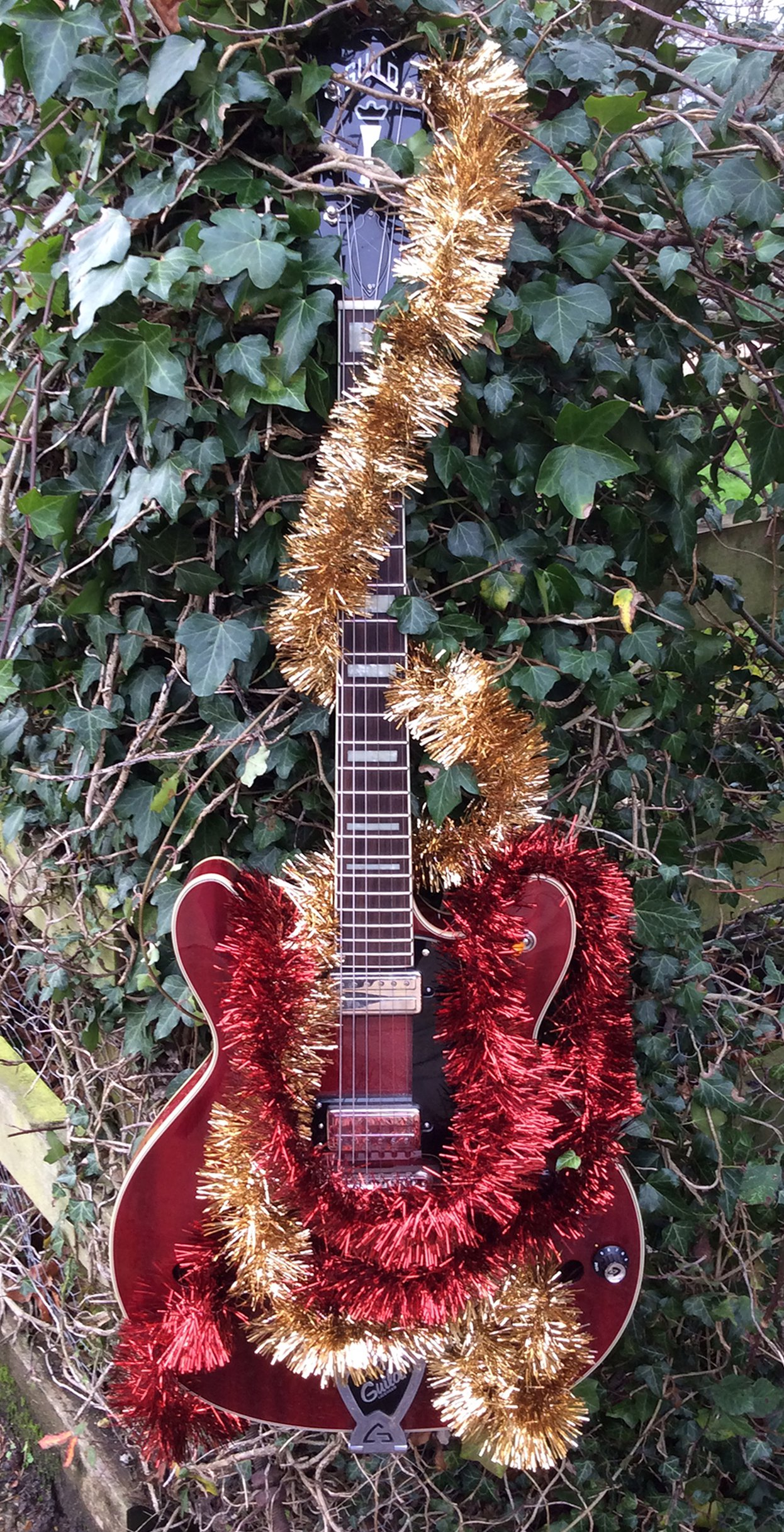 electric guitar wrapped in tinsel on green leaves